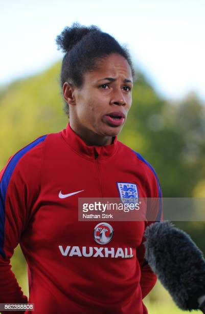 Demi Stokes of England speaks to the press at St Georges Park on October 17 2017 in BurtonuponTrent England