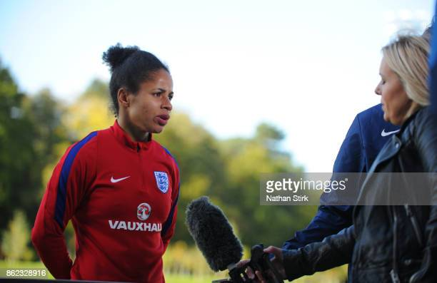 Demi Stokes of England speaks to the press during at St Georges Park on October 17 2017 in BurtonuponTrent England