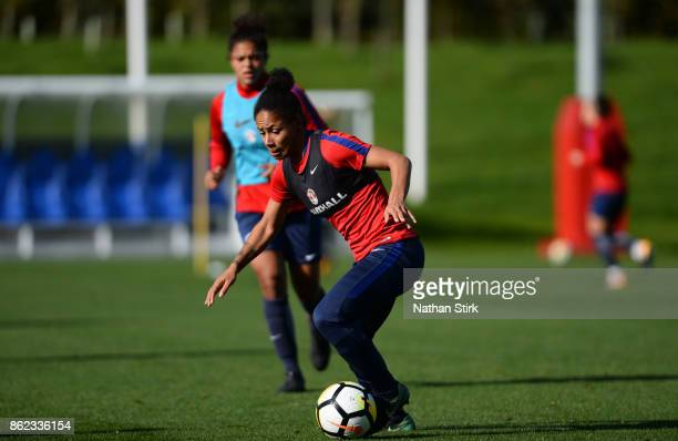 Demi Stokes of England Women during a Training Session at St Georges Park on October 17 2017 in BurtonuponTrent England