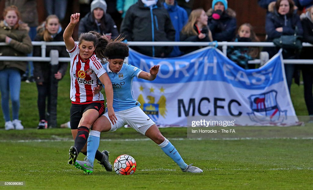 Demi Stokes of Manchester City (R) competes with Brooke Chaplen of Sunderland during the WSL 1 match between Sunderland AFC Ladies and Manchester City Women at The Hetton Center on April 29, 2016 in Hetton, England.