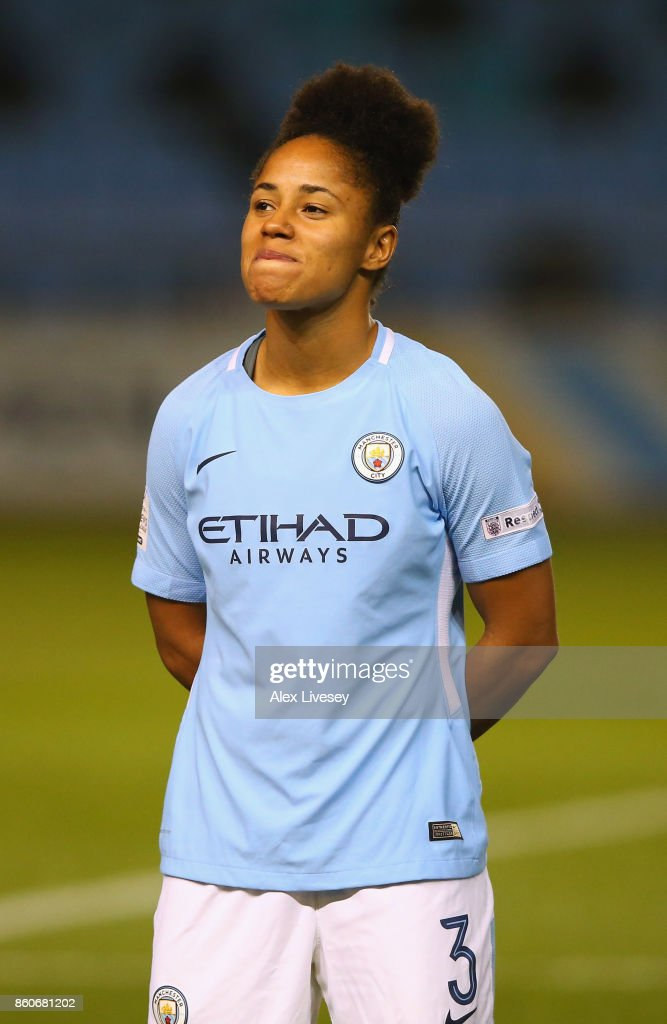 Demi Stokes of Manchester City Ladies lines up prior to the UEFA Women's Champions League match between Manchester City Ladies and St. Polten Ladies at Manchester City Football Academy on October 12, 2017 in Manchester, England.