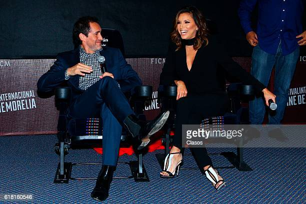 Demian Bichir and Eva Longoria unveil a chair with their names during the Morelia International Film Festival on October 23 2016 in Morelia Mexico