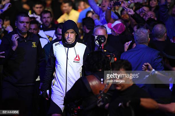 Demian Maia of Brazil enters the stadium before facing Matt Brown in their welterweight bout during the UFC 198 event at Arena da Baixada stadium on...