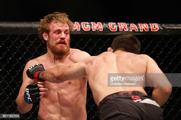 Demian Maia of Brazil punches Gunnar Nelson of Iceland in their welterweight bout during the UFC 194 event inside MGM Grand Garden Arena on December...