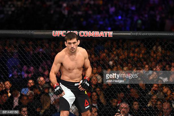 Demian Maia of Brazil stands in his corner before facing Matt Brown in their welterweight bout during the UFC 198 event at Arena da Baixada stadium...