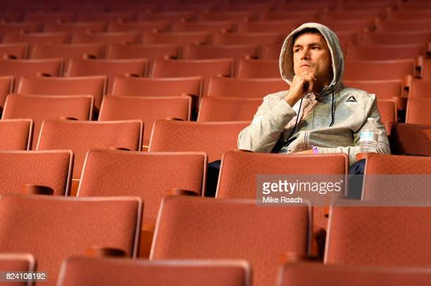 Demian Maia of Brazil waits backstage during the UFC 214 weighin inside the Honda Center on July 28 2017 in Anaheim California