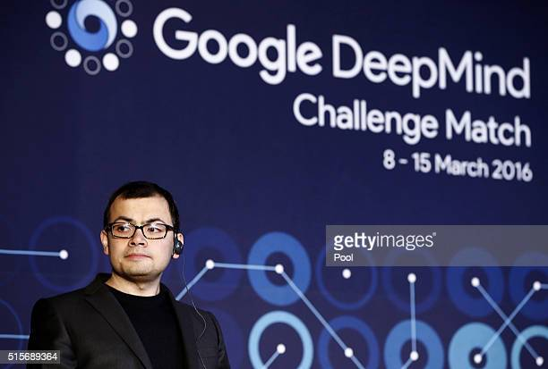 Demis Hassabis cofounder of Google's artificial intelligence startup DeepMind speaks during a press conference after finishing the final match of the...