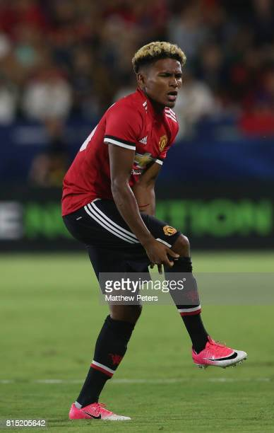 Demitri Mitchell of Manchester United picks up an injury during the preseason friendly match between LA Galaxy and Manchester United at StubHub...