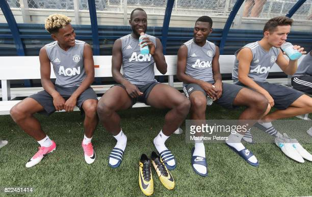 Demitri Mitchell Romelu Lukaku Timothy FosuMensah and Ander Herrera of Manchester United in action during a first team training session as part of...