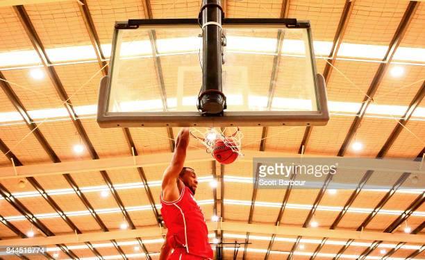 Demitrius Conger of the Hawks dunks the ball during the 2017 NBL Blitz preseason match between the Cairns Taipans and the Illawarra Hawks at...