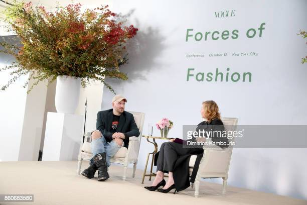 Demna Gvasalia and Sarah Mower speak onstage during Vogue's Forces of Fashion Conference at Milk Studios on October 12 2017 in New York City