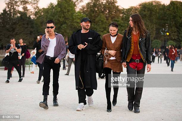 Demna Gvasalia Vetements designer Lotta Volkova stylist after Jacquemus at the Tuileries on September 27 2016 in Paris France