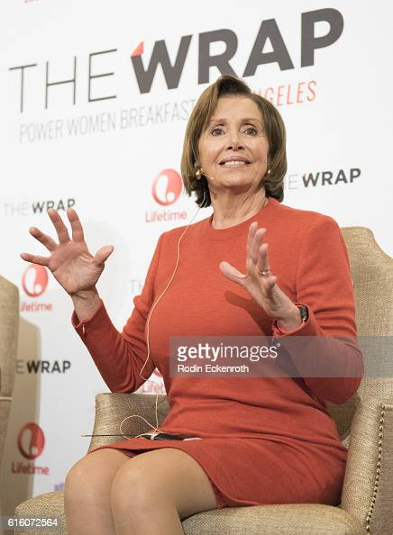 Democaratic Leader of the US House of Representatives 114th Congress Nancy Pelosi speaks onstage at Montage Beverly Hills on October 21 2016 in...