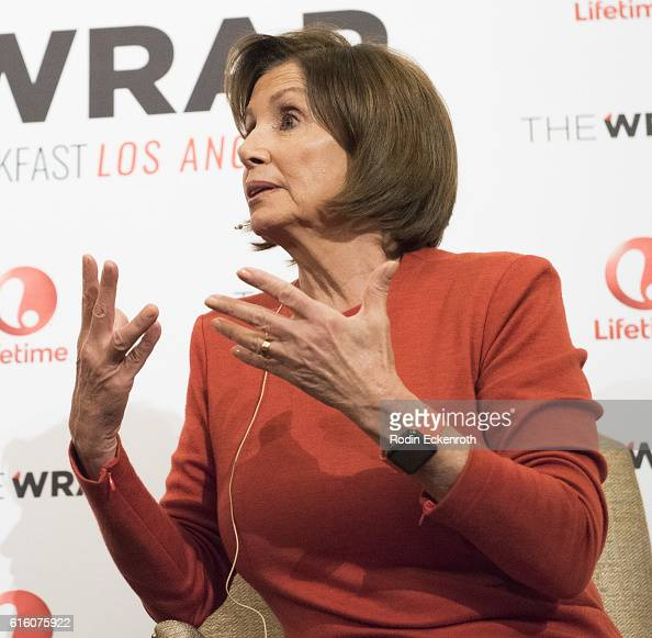 Democaratic Leader of the US House of Representatives 114th Congress Nancy Pelosi speaks onstage at TheWrap's 8th Annual Power Women Breakfast at...