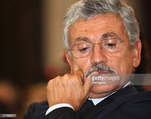 Democatric Party Member Massimo D'Alema attends a meeting on integration of the Islamic youth in Italy on September 29 2011 in Rome Italy The focus...