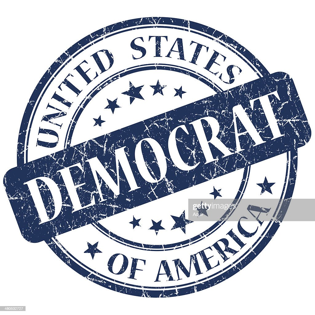 Democrat blue stamp : Stock Photo