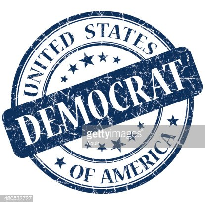 Democrat blue stamp : Stock Photo