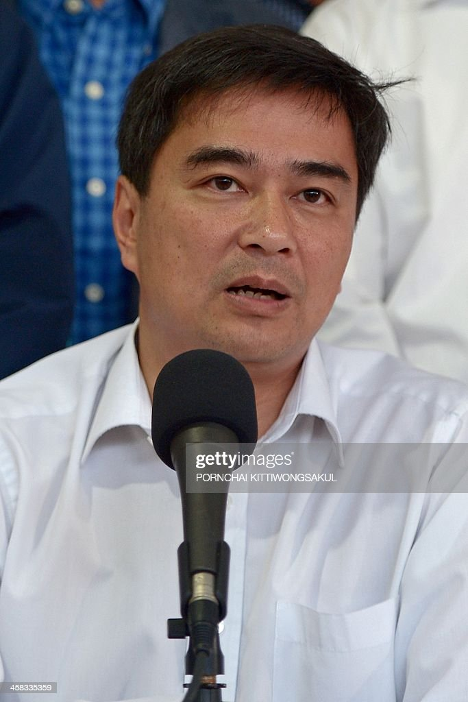 Democrat party leader <a gi-track='captionPersonalityLinkClicked' href=/galleries/search?phrase=Abhisit+Vejjajiva&family=editorial&specificpeople=645779 ng-click='$event.stopPropagation()'>Abhisit Vejjajiva</a> speaks during a press conference at the Democrat party in bangkok on December 21, 2013. Thailand's main opposition Democrat Party announced it would boycott snap elections in the crisis-gripped kingdom, piling further pressure on the government as protesters prepare to ramp up rallies aimed at suspending democracy. AFP PHOTO / PORNCHAI KITTIWONGSAKUL