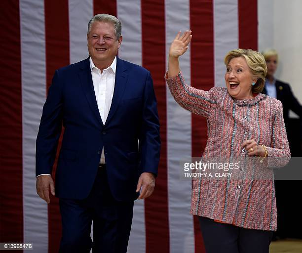 Democrat presidential nominee Hillary Clinton and Former Vice President Al Gore arrive for a climate change event at Miami Dade CollegeKendall Campus...