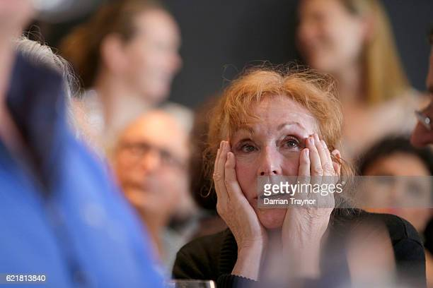 Democrat voters react as they watch the election result during a 'Democrats Abroad' event in Melbourne on November 9 2016 in Melbourne Australia...