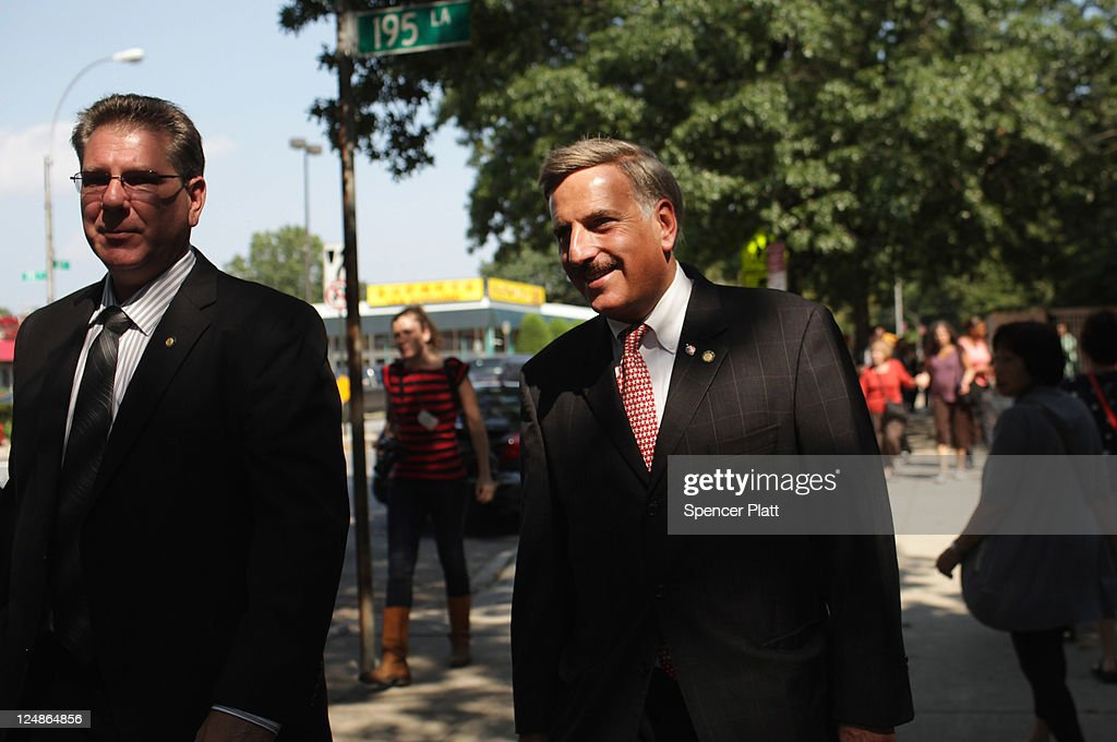 Democratic Assemblyman <a gi-track='captionPersonalityLinkClicked' href=/galleries/search?phrase=David+Weprin&family=editorial&specificpeople=5922077 ng-click='$event.stopPropagation()'>David Weprin</a> (R), who is running for Congress in a race in New York's heavily Democratic 9th District, speaks with the media at a polling station on September 13, 2011 in the Queens borough of New York City. Weprin is running against Republican Bob Turner to succeed Democrat Anthony Weiner who resigned in June after admitting he sent partially nude photos of himself to women via the Internet. The race has received strong media attention as it is being viewed as a bellwether of support for President Barack Obama and Washington.