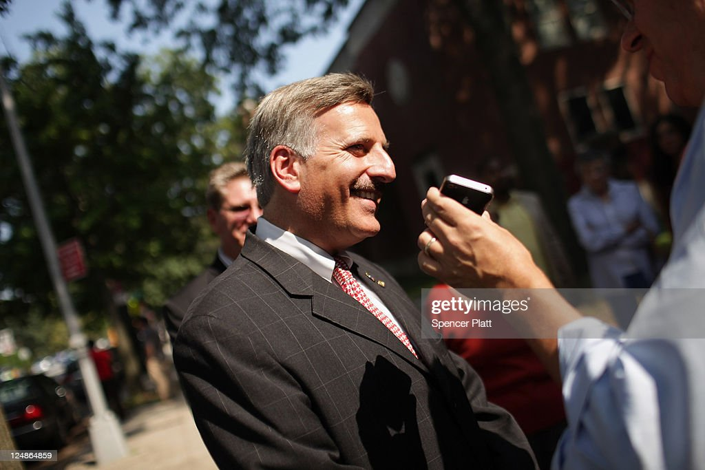 Democratic Assemblyman <a gi-track='captionPersonalityLinkClicked' href=/galleries/search?phrase=David+Weprin&family=editorial&specificpeople=5922077 ng-click='$event.stopPropagation()'>David Weprin</a>, who is running for Congress in a race in New York's heavily Democratic 9th District, speaks with the media at a polling station on September 13, 2011 in the Queens borough of New York City. Weprin is running against Republican Bob Turner to succeed Democrat Anthony Weiner who resigned in June after admitting he sent partially nude photos of himself to women via the Internet. The race has received strong media attention as it is being viewed as a bellwether of support for President Barack Obama and Washington.