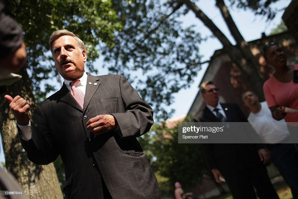 Democratic Assemblyman <a gi-track='captionPersonalityLinkClicked' href=/galleries/search?phrase=David+Weprin&family=editorial&specificpeople=5922077 ng-click='$event.stopPropagation()'>David Weprin</a>, who is running for Congress in a race in New York's heavily Democratic 9th District speaks with the media at a polling station on September 13, 2011 in the Queens borough of New York City. Weprin is running against Republican Bob Turner to succeed Democrat Anthony Weiner who resigned in June after admitting he sent partially nude photos of himself to women via the Internet. The race has received strong media attention as it is being viewed as a bellwether of support for President Barack Obama and Washington.