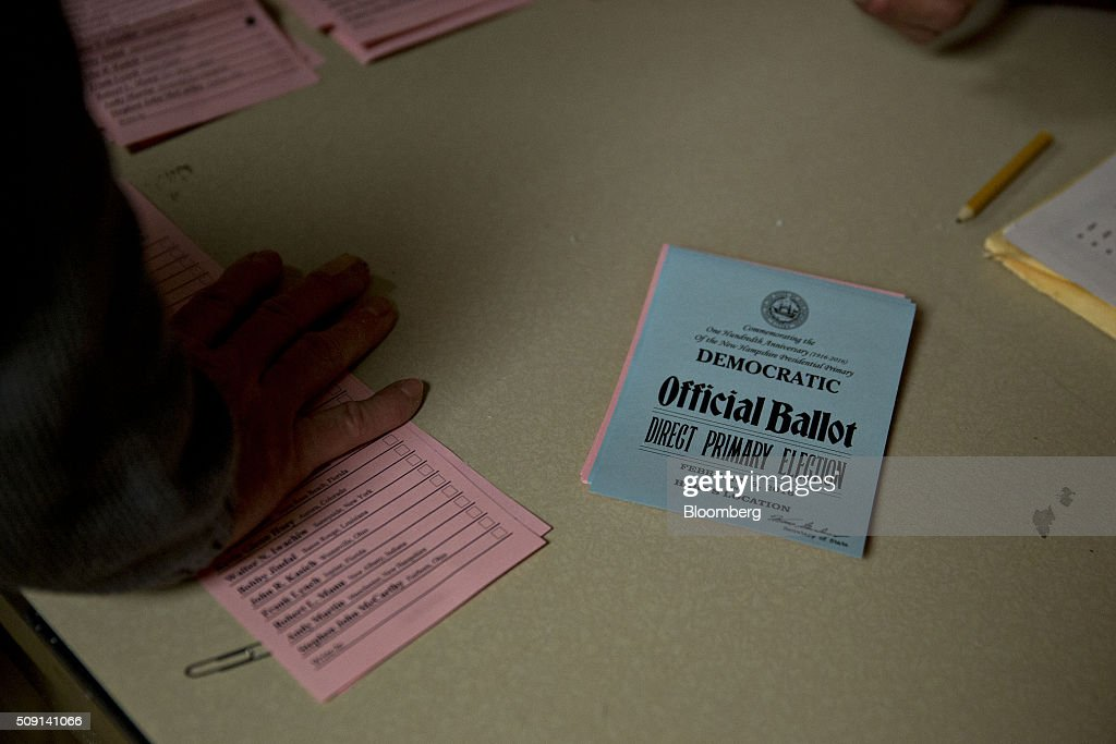 A Democratic ballot sits on a table as votes are counted at the town hall polling site during the New Hampshire presidential primary election in Harts Location, New Hampshire, U.S., on Tuesday, Feb. 9, 2016. According to the New Hampshire Secretary of State's office, the state has 383,834 voters who haven't declared a party affiliation, compared to 260,896 registered Republicans and 229,202 Democrats. Photographer: Andrew Harrer/Bloomberg via Getty Images