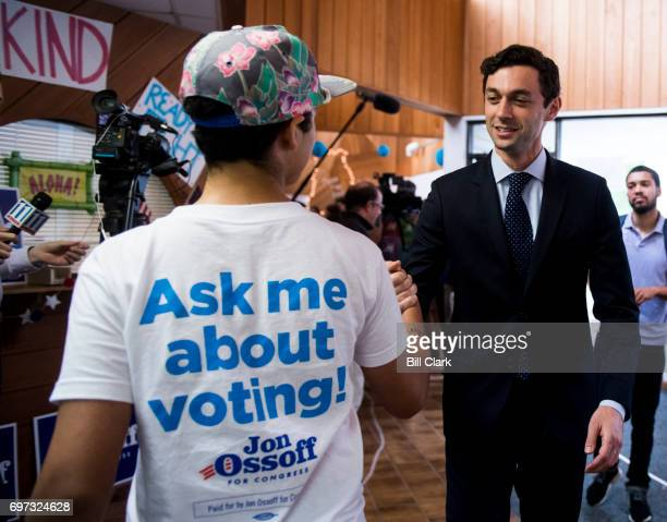 Democratic candidate for Georgia's 6th Congressional district Jon Ossoff shakes hands with campaign workers and volunteers at his 'Father's Day...