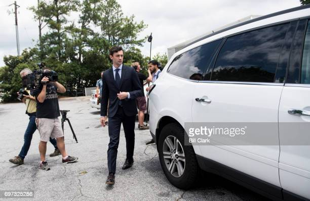 Democratic candidate for Georgia's 6th Congressional district Jon Ossoff leaves after speaking to campaign workers and volunteers at his 'Father's...