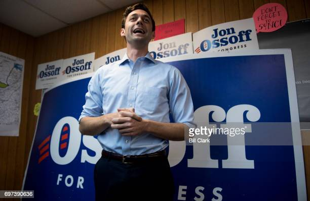 Democratic candidate for Georgia's 6th Congressional district Jon Ossoff speaks to campaign workers and volunteers at his campaign office in Chamblee...