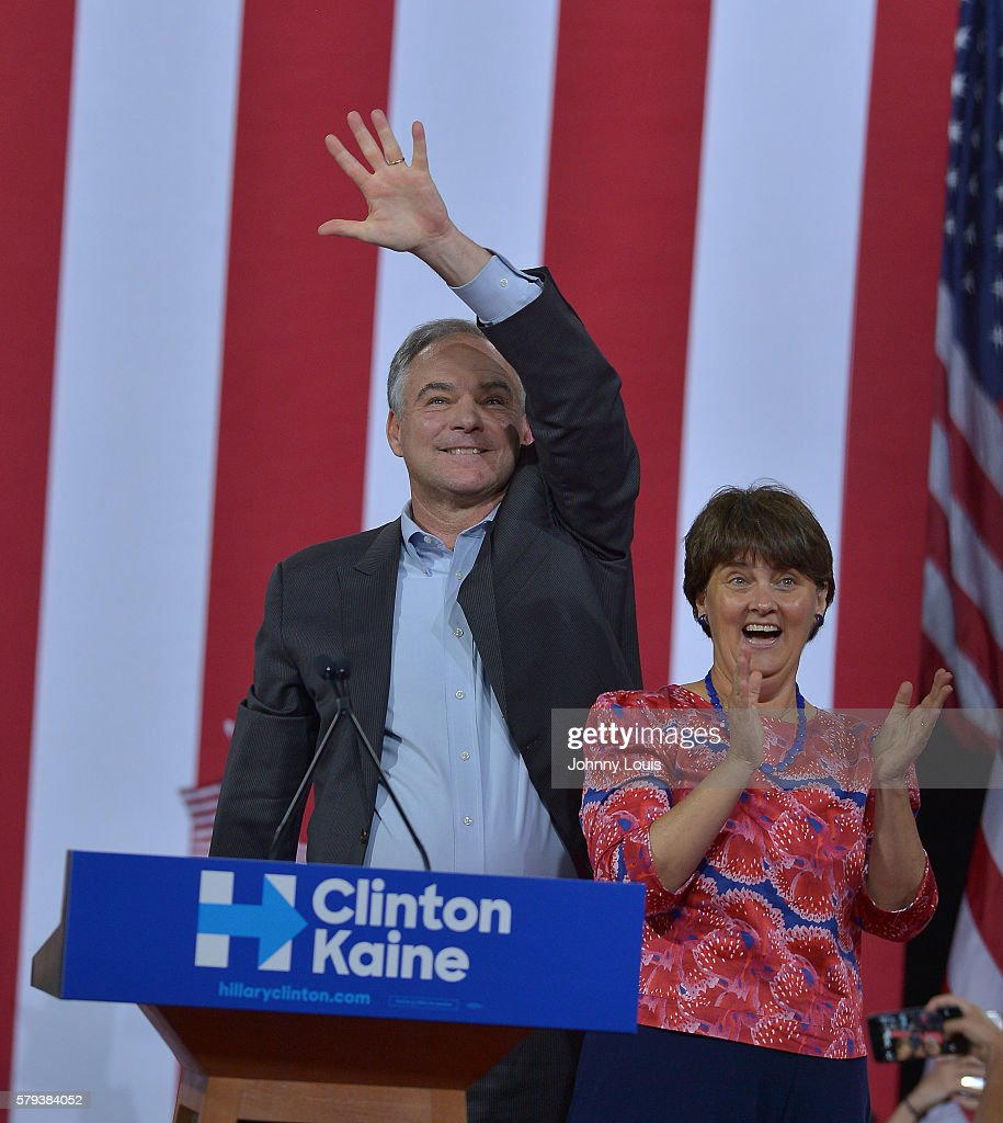 Democratic candidate for Vice President US Senator Tim Kaine and his wife Anne Bright Holton attend a rally by Democratic Presumptive Nominee for...