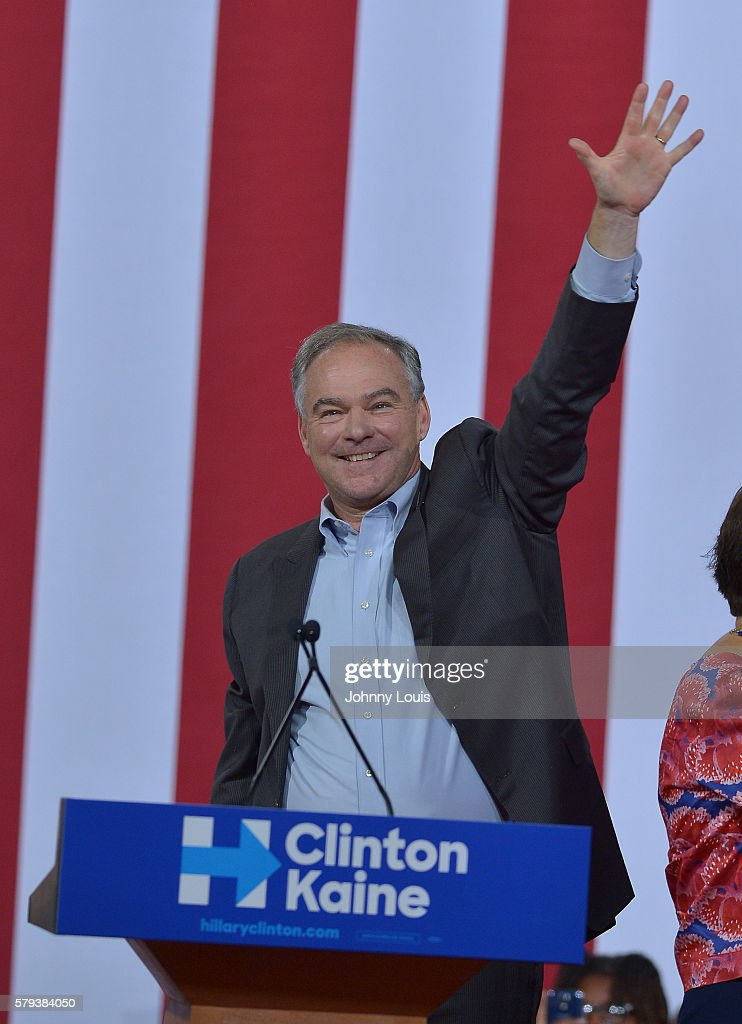 Democratic candidate for Vice President US Senator Tim Kaine speaks during a campaign rally with voters at the Florida International University...