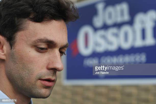 Democratic candidate Jon Ossoff arrives to greet supporters at a campaign office as he runs for Georgia's 6th Congressional District in a special...