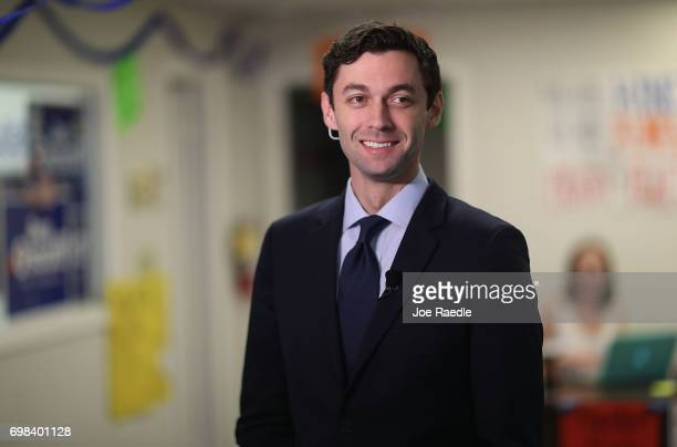 Democratic candidate Jon Ossoff conducts an interview with the media on Election Day as he runs for Georgia's 6th Congressional District on June 20...