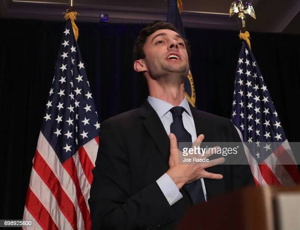 Democratic candidate Jon Ossoff delivers a concession speech during his election night party being held at the Westin Atlanta Perimeter North Hotel...