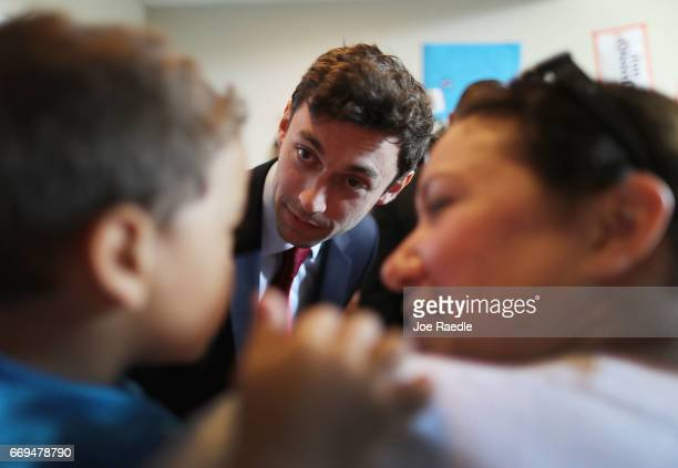 Democratic candidate Jon Ossoff greets supporters during a visit to a campaign office as he runs for Georgia's 6th Congressional District in a...