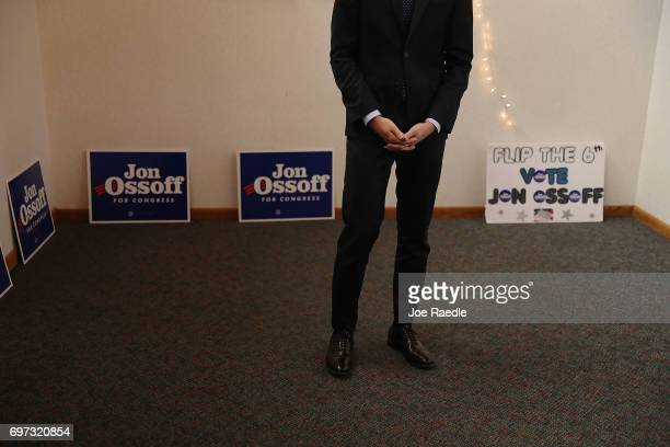 Democratic candidate Jon Ossoff speaks as he thanks volunteers and supporters during a stop at a campaign office as he runs for Georgia's 6th...
