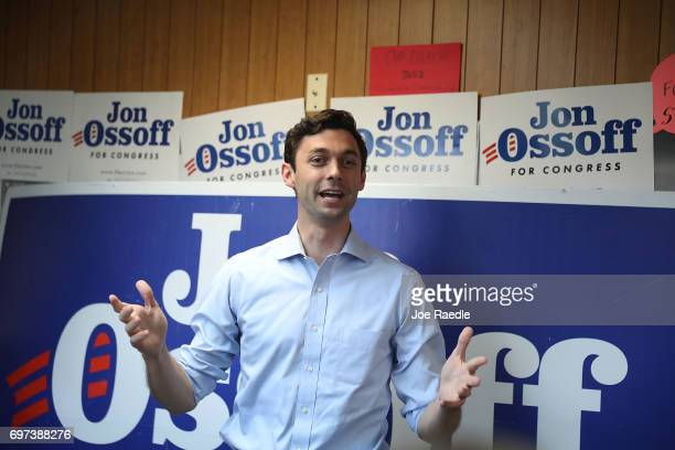Democratic candidate Jon Ossoff speaks as he visits a campaign office to thank volunteers and supporters as he runs for Georgia's 6th Congressional...