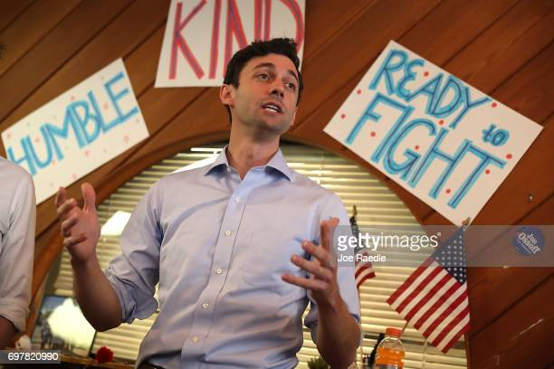 Democratic candidate Jon Ossoff speaks during a visit to a campaign office to thank volunteers and supporters as he runs for Georgia's 6th...