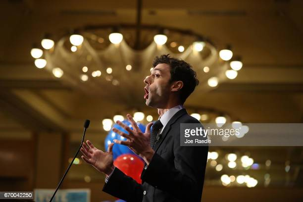 Democratic candidate Jon Ossoff speaks to his supporters as votes continue to be counted in a race that was too close to call for Georgia's 6th...