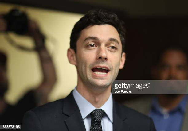 Democratic candidate Jon Ossoff speaks to supporters at a campaign office as he runs for Georgia's 6th Congressional District in a special election...