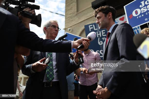 Democratic candidate Jon Ossoff speaks to the media during a visit to a campaign office as he runs for Georgia's 6th Congressional District in a...