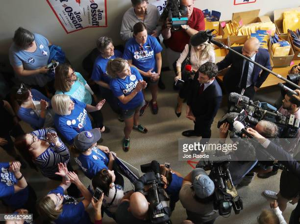 Democratic candidate Jon Ossoff speaks to volunteers and supporters at a campaign office as he runs for Georgia's 6th Congressional District in a...