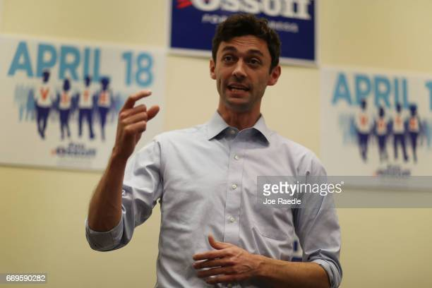 Democratic candidate Jon Ossoff speaks to volunteers and supporters at an election eve rally as he runs for Georgia's 6th Congressional District in a...