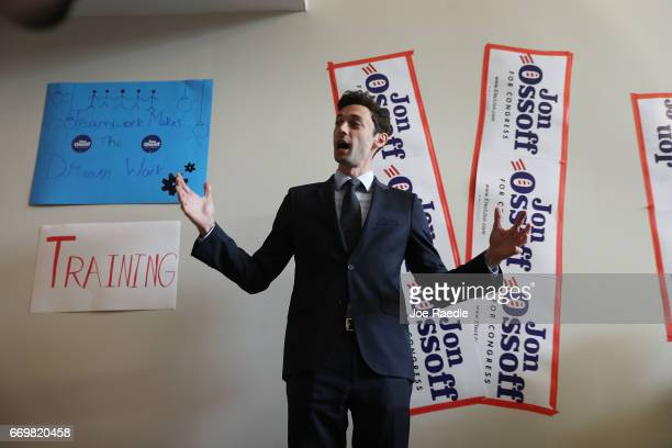 Democratic candidate Jon Ossoff speaks to volunteers and supporters at a campaign office as he runs for Georgia's 6th Congressional District on April...