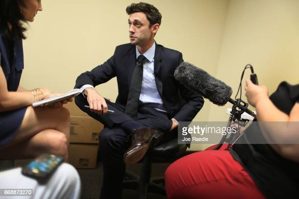 Democratic candidate Jon Ossoff speaks with the media as he runs for Georgia's 6th Congressional District in a special election to replace Tom Price...