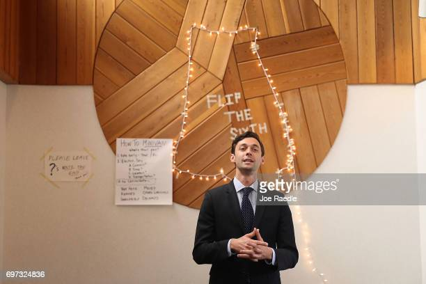 Democratic candidate Jon Ossoff thanks volunteers and supporters during a stop at a campaign office as he runs for Georgia's 6th Congressional...