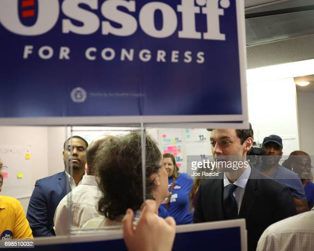 Democratic candidate Jon Ossoff visits a campaign office to speak with volunteers and supporters on election day as he runs for Georgia's 6th...