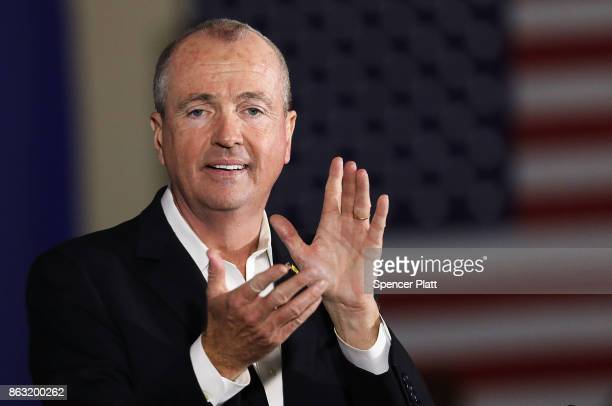 Democratic candidate Phil Murphy who is running against Republican Lt Gov Kim Guadagno for the governor of New Jersey speaks at a rally on October 19...